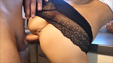 She wants sex first time in the kitchen and gets a fast cum in her panties