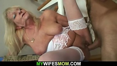 Son in law fucks blonde old granny