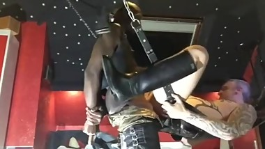 black guy breeds daddy then fuck his cum in with a strapon