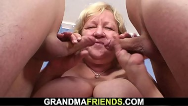 70 yo granny gives double head then fucked