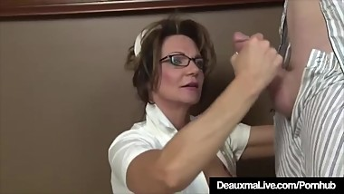 Busty Mature Nurse Deauxma Gives Patient Sloppy Hot Handjob!
