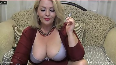 chubby mature smoking