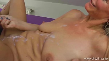 Mega Cumshot final on my pussy and my tits