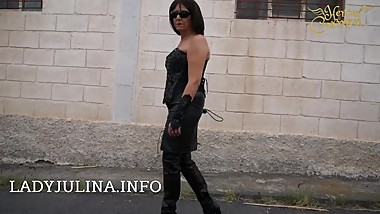 Mature Smoking German Mistress Public Walking Leather High Heel Boots Whip
