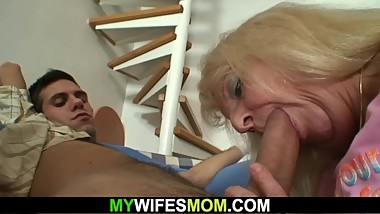 Her blonde mom in law rides his big dick