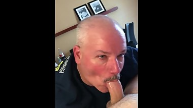 Mature sucking my uncut cock and swallowing my load
