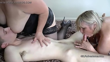Big Tit Blonde Cougars Seduce Young Boy