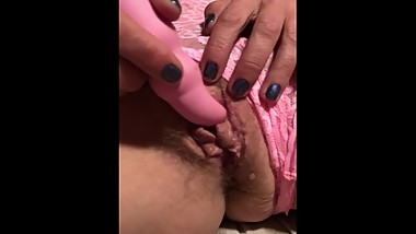 Cougar Wife using Pink Vibrator while wearing the Pink Panties - Pussy Lips