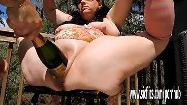 Double fisting and XXL champagne bottle fucked BBW