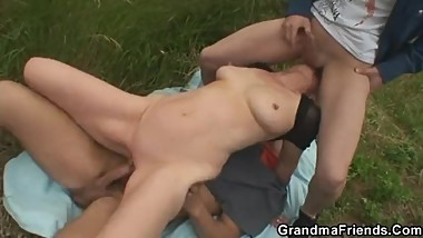 They pick up and fuck old woman outdoors