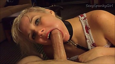 Hot Girl on a Leash: Rough Deepthroat and Cum Down Throat.