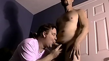 Straight cut dude blown and ball licked by mature homo