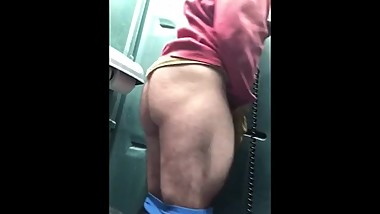 Construction worker shows us his hairy ass and fat dick