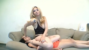 Mature Lesbian Woman enjoys sitting on her Younger Girlfriend