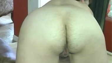 Mature woman with hairy ass farting