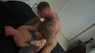 Moaning blindfolded bottom being bred by mature top