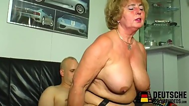 Granny mother is horny, suck son very beauty!