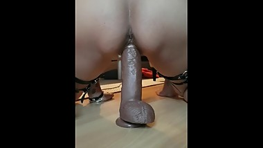 Homemaid, Wife stretching her wet pussy with XXL Dildo