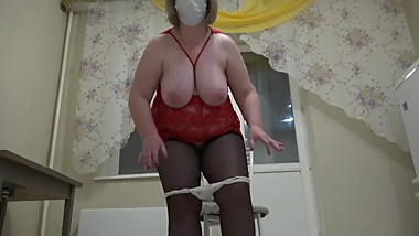 mature milf rider on a dildo, shaking with huge tits