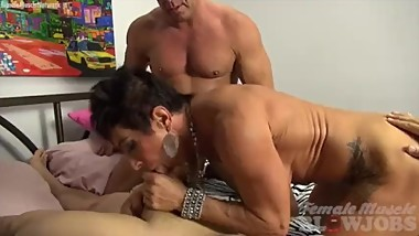Mature Female Bodybuilder Sucks Two Cocks