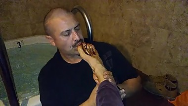 worshiping chocolate covered mature feet