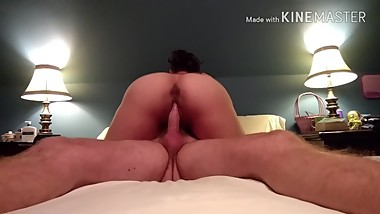 Sexy mature woman riding husband's cock