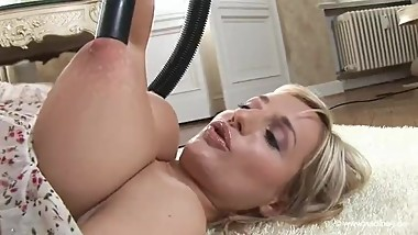 Housewife vacuuming her tits