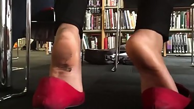 Mature Asian Dirty Soles Flats Shoeplay In Library
