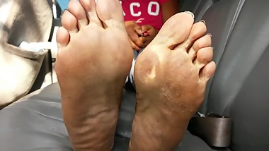 Ebony mature black sexy toe nails dirty soles in my car