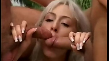 blonde long nails milf cougar hardcore anal blowjob threesome