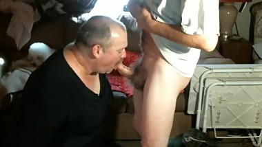CrossDresser sucking mature cock