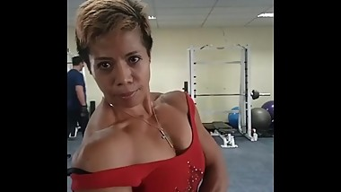 Muscular Indonesian Mature Woman Working Out and Flexing 2