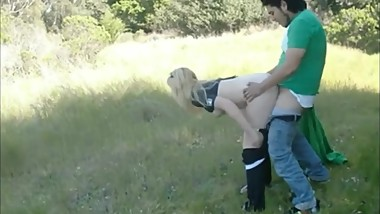 Cheating wife takes a friends cock from behind in the park