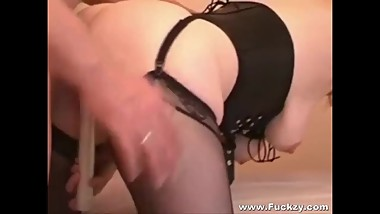 Cheating Mature Whore In Black Stockings Fucked In Her Fartbox & Creamed