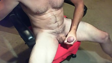 Fit, muscular daddy beating my meat and squirting a big load of cum.