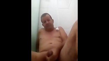 Older Daddy Cum In Bathroom