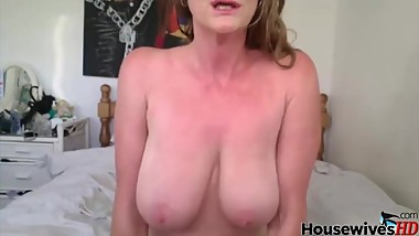 Dirty talking hot grandmother cowgirl on toy