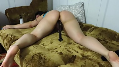 Mature Russian milf with big tits, fucks with a baseball bat