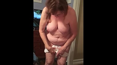 Sexy wife slowly undressng with tease before finally removing panties