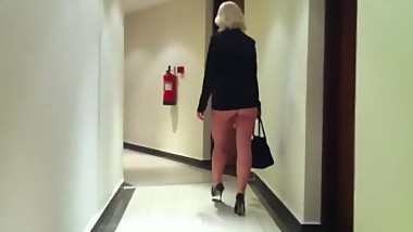 Hot & sexy blonde MILF dancing like a fucking slut in tight too short dress