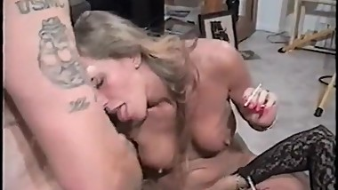 Two milfs smoking and irritate the man nipples