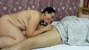 Mature Russian couple, blowjob and masturbate. Milf with big tits