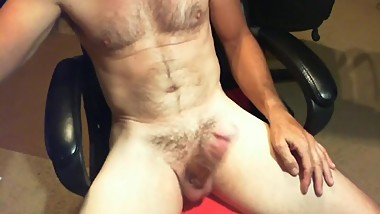 Hairy, fit Daddy masturbating fat cock and cumming