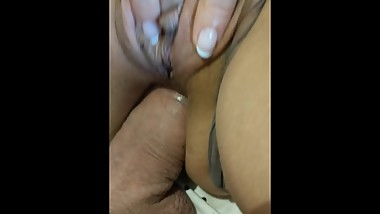 Milf fingering while being Fucked Ass with big Anal Creampie