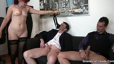 Cocksucking business old woman riding another dick