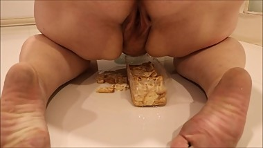 Fat milf gets punished for eating without permission & has to pee on it!!!!