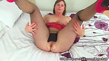 British milf April rubs her very tight cunt