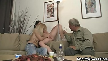 She gets toyed and fucked by his olds