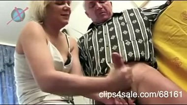 Crazy fucking german whore torturing old man's cock trough too rough hanjob