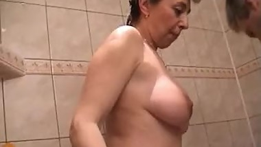 pretty granny in the bathroom